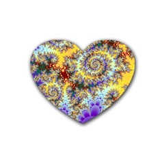 Desert Winds, Abstract Gold Purple Cactus  Drink Coasters 4 Pack (Heart)