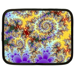 Desert Winds, Abstract Gold Purple Cactus  Netbook Sleeve (Large)