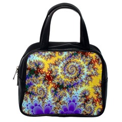 Desert Winds, Abstract Gold Purple Cactus  Classic Handbag (One Side)