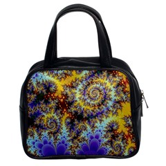 Desert Winds, Abstract Gold Purple Cactus  Classic Handbag (two Sides)