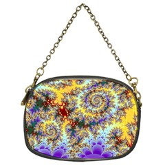 Desert Winds, Abstract Gold Purple Cactus  Chain Purse (One Side)