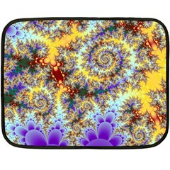 Desert Winds, Abstract Gold Purple Cactus  Mini Fleece Blanket (two Sided)