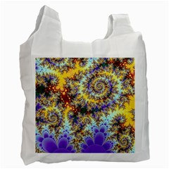 Desert Winds, Abstract Gold Purple Cactus  White Reusable Bag (one Side)