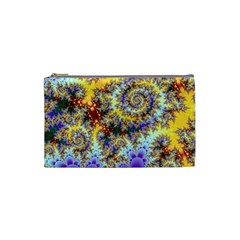 Desert Winds, Abstract Gold Purple Cactus  Cosmetic Bag (Small)