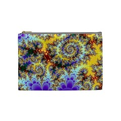 Desert Winds, Abstract Gold Purple Cactus  Cosmetic Bag (medium)