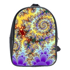 Desert Winds, Abstract Gold Purple Cactus  School Bag (Large)