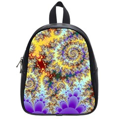Desert Winds, Abstract Gold Purple Cactus  School Bag (Small)