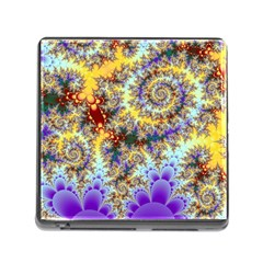 Desert Winds, Abstract Gold Purple Cactus  Memory Card Reader with Storage (Square)