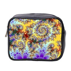 Desert Winds, Abstract Gold Purple Cactus  Mini Travel Toiletry Bag (Two Sides)