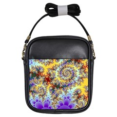 Desert Winds, Abstract Gold Purple Cactus  Girl s Sling Bag