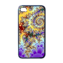 Desert Winds, Abstract Gold Purple Cactus  Apple iPhone 4 Case (Black)