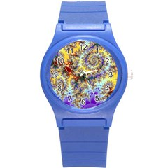 Desert Winds, Abstract Gold Purple Cactus  Plastic Sport Watch (Small)