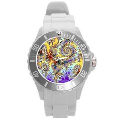 Desert Winds, Abstract Gold Purple Cactus  Plastic Sport Watch (Large)
