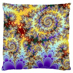 Desert Winds, Abstract Gold Purple Cactus  Large Cushion Case (Single Sided)
