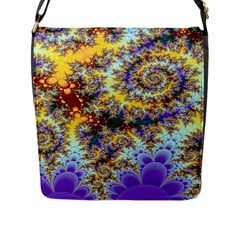 Desert Winds, Abstract Gold Purple Cactus  Flap Closure Messenger Bag (Large)