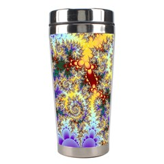 Desert Winds, Abstract Gold Purple Cactus  Stainless Steel Travel Tumbler
