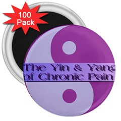 Yin & Yang Of Chronic Pain 3  Button Magnet (100 pack)