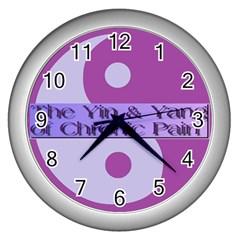 Yin & Yang Of Chronic Pain Wall Clock (Silver)