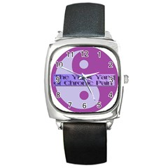 Yin & Yang Of Chronic Pain Square Leather Watch