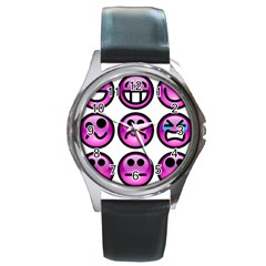Chronic Pain Emoticons Round Leather Watch (silver Rim)