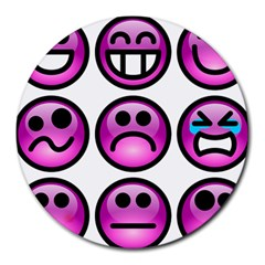 Chronic Pain Emoticons 8  Mouse Pad (Round)
