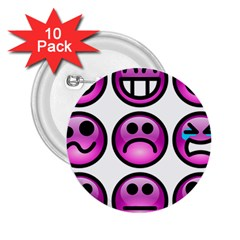 Chronic Pain Emoticons 2 25  Button (10 Pack)