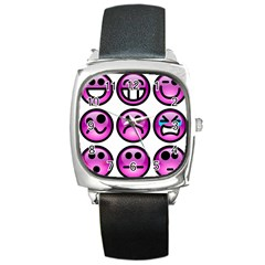 Chronic Pain Emoticons Square Leather Watch