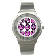 Chronic Pain Emoticons Stainless Steel Watch (Slim)
