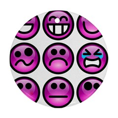 Chronic Pain Emoticons Round Ornament (Two Sides)