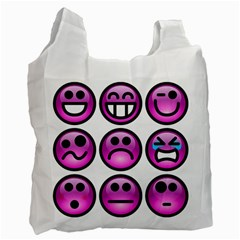 Chronic Pain Emoticons White Reusable Bag (two Sides)