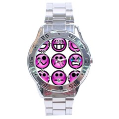 Chronic Pain Emoticons Stainless Steel Watch