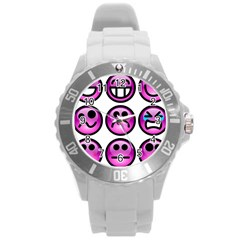 Chronic Pain Emoticons Plastic Sport Watch (Large)