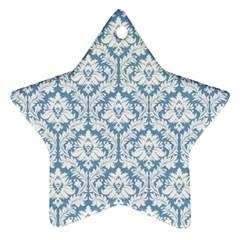 White On Light Blue Damask Star Ornament