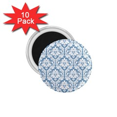 White On Light Blue Damask 1 75  Button Magnet (10 Pack)