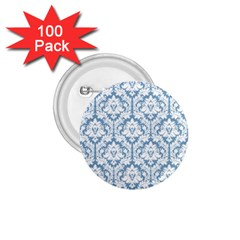 White On Light Blue Damask 1.75  Button (100 pack)