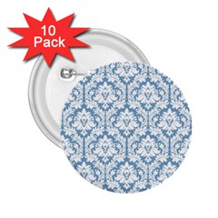 White On Light Blue Damask 2.25  Button (10 pack)