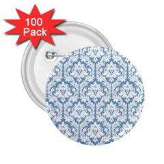 White On Light Blue Damask 2.25  Button (100 pack)