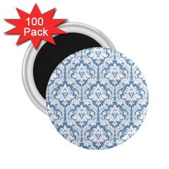 White On Light Blue Damask 2.25  Button Magnet (100 pack)