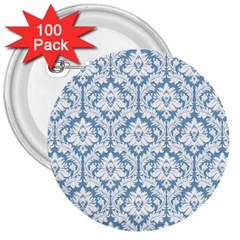White On Light Blue Damask 3  Button (100 pack)