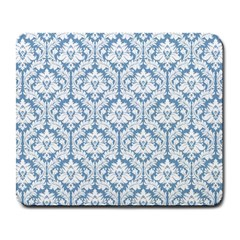 White On Light Blue Damask Large Mouse Pad (Rectangle)