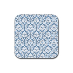 White On Light Blue Damask Drink Coasters 4 Pack (Square)