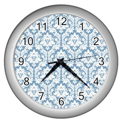 White On Light Blue Damask Wall Clock (Silver)