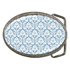White On Light Blue Damask Belt Buckle (oval)