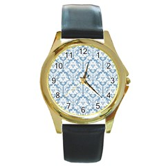 White On Light Blue Damask Round Leather Watch (Gold Rim)
