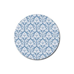 White On Light Blue Damask Drink Coasters 4 Pack (Round)