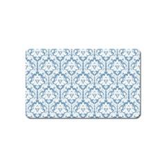 White On Light Blue Damask Magnet (name Card)