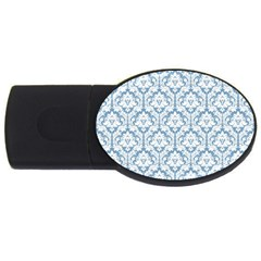 White On Light Blue Damask 2gb Usb Flash Drive (oval)