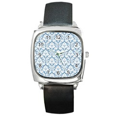 White On Light Blue Damask Square Leather Watch