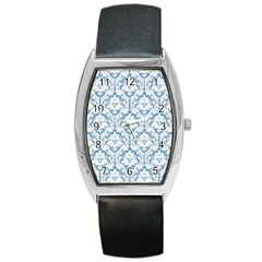White On Light Blue Damask Tonneau Leather Watch