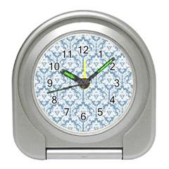 White On Light Blue Damask Desk Alarm Clock